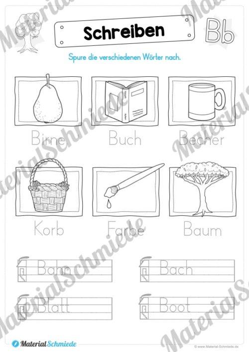 Materialpaket: Buchstabe B/b schreiben lernen (Vorschau 08)