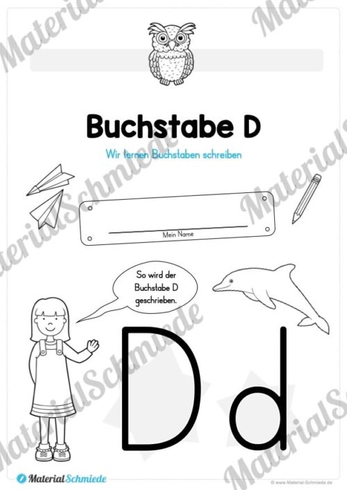 Materialpaket: Buchstabe D/d schreiben lernen (Vorschau 01)