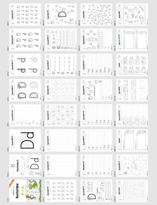 Materialpaket: Buchstabe D/d schreiben lernen (Überblick)