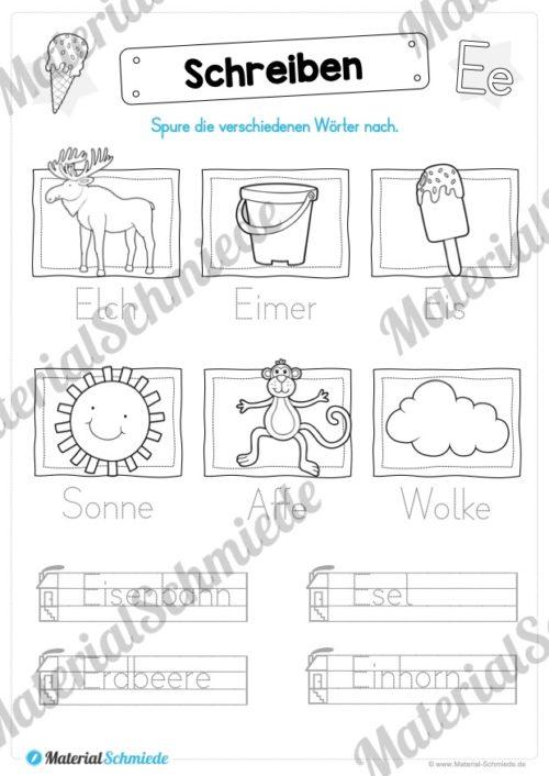 Materialpaket: Buchstabe E/e schreiben lernen (Vorschau 08)