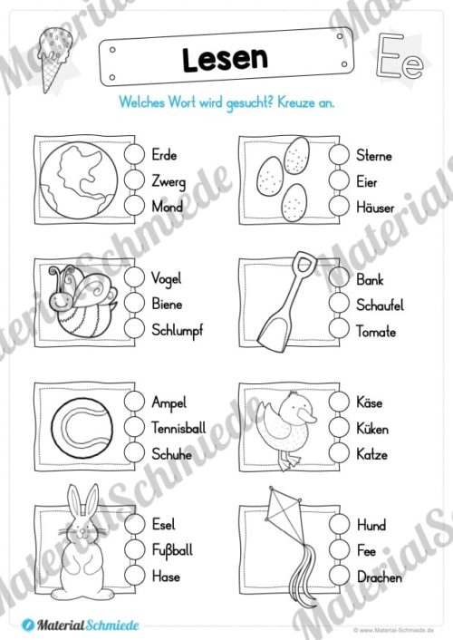 Materialpaket: Buchstabe E/e schreiben lernen (Vorschau 09)