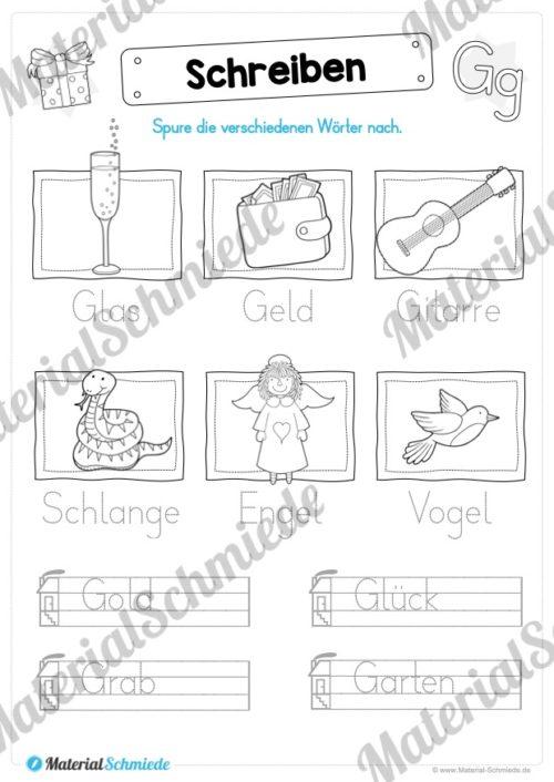 Materialpaket: Buchstabe G/g schreiben lernen (Vorschau 08)