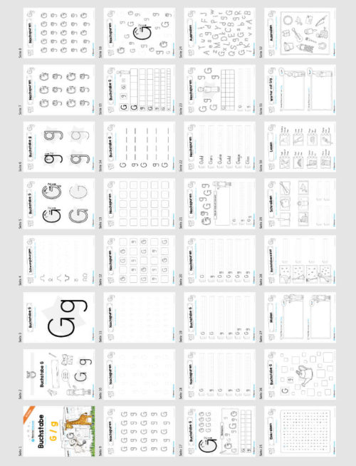 Materialpaket: Buchstabe G/g schreiben lernen (Überblick)