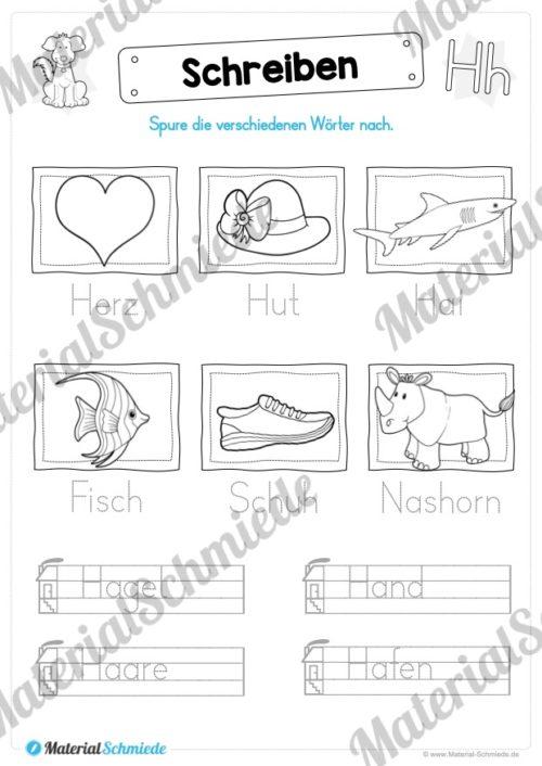 Materialpaket: Buchstabe H/h schreiben lernen (Vorschau 06)
