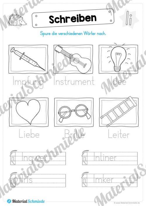 Materialpaket: Buchstabe I/i schreiben lernen (Vorschau 07)