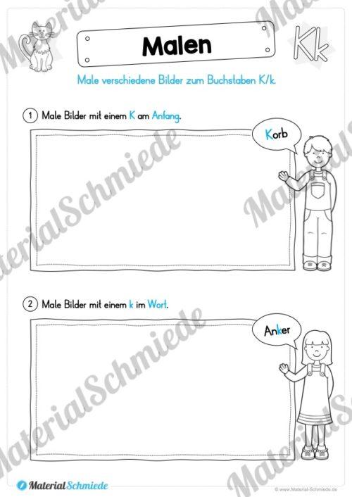 Materialpaket: Buchstabe K/k schreiben lernen (Vorschau 07)