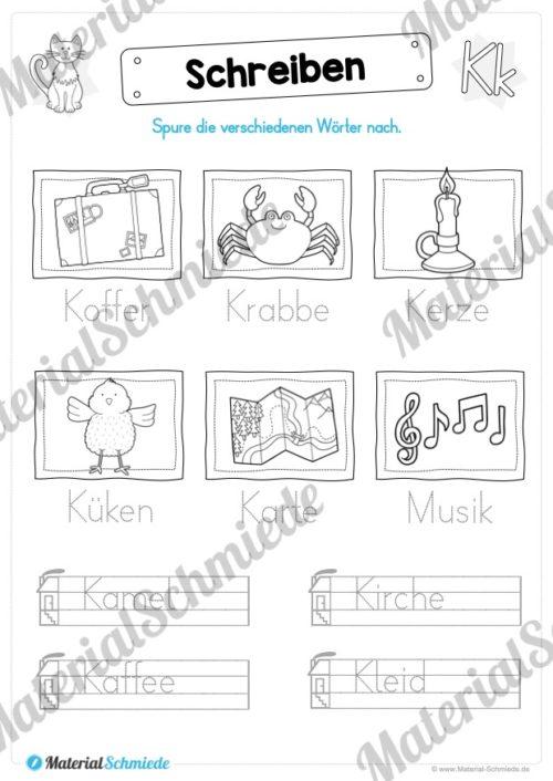 Materialpaket: Buchstabe K/k schreiben lernen (Vorschau 09)