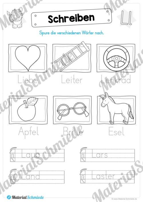Materialpaket: Buchstabe L/l schreiben lernen (Vorschau 08)