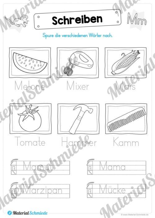 Materialpaket: Buchstabe M/m schreiben lernen (Vorschau 08)