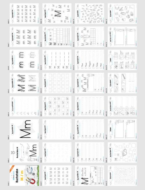 Materialpaket: Buchstabe M/m schreiben lernen (Überblick)