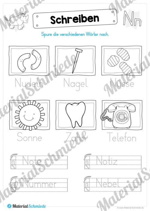 Materialpaket: Buchstabe N/n schreiben lernen (Vorschau 08)