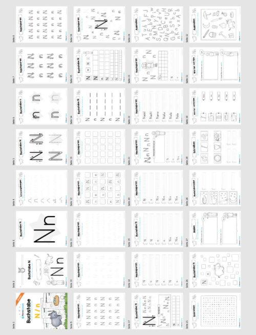 Materialpaket: Buchstabe N/n schreiben lernen (Überblick)