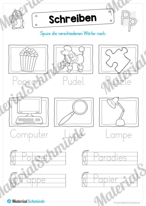 Materialpaket: Buchstabe P/p schreiben lernen (Vorschau 08)