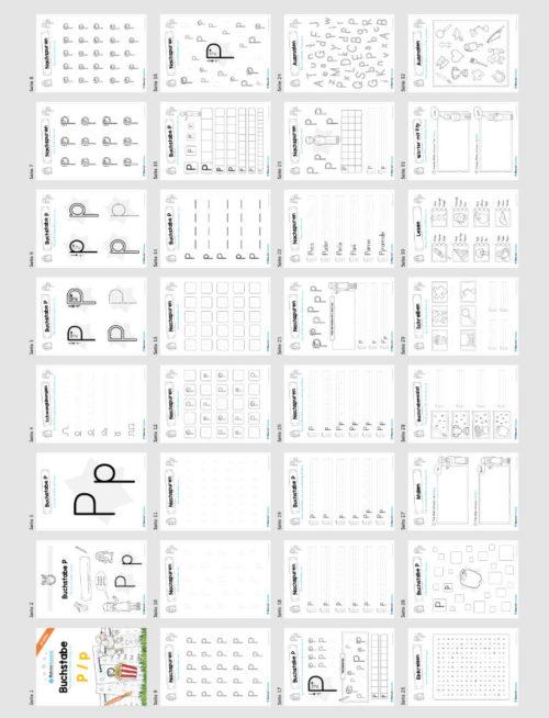 Materialpaket: Buchstabe P/p schreiben lernen (Überblick)