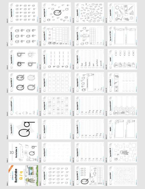 Materialpaket: Buchstabe Q/q schreiben lernen (Überblick)