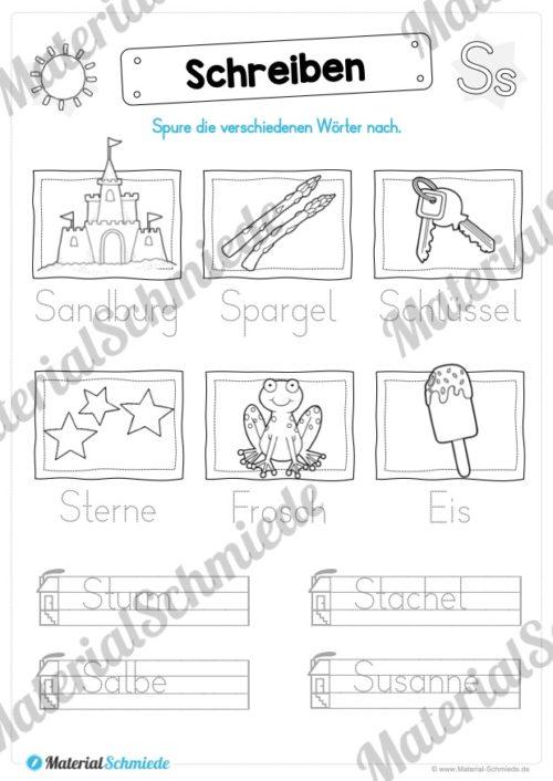 Materialpaket: Buchstabe S/s schreiben lernen (Vorschau 08)