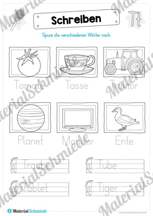 Materialpaket: Buchstabe T/t schreiben lernen (Vorschau 07)