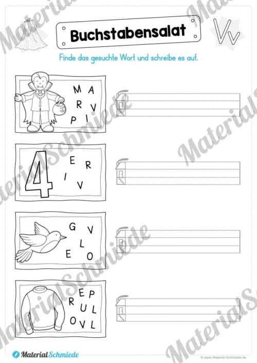 Materialpaket: Buchstabe V/v schreiben lernen (Vorschau 05)