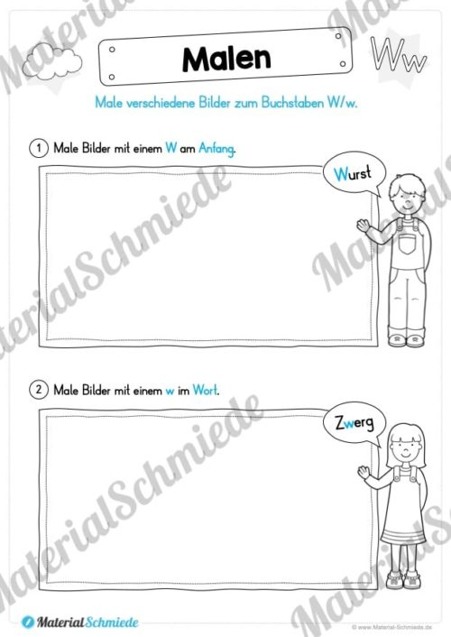 Materialpaket: Buchstabe W/w schreiben lernen (Vorschau 06)