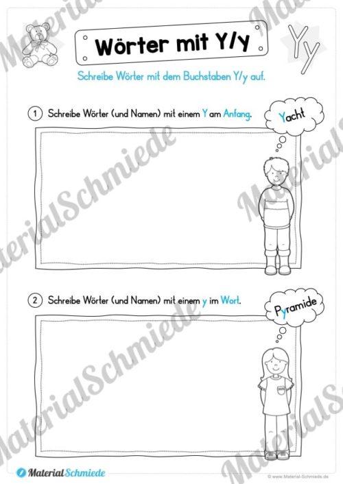 Materialpaket: Buchstabe Y/y schreiben lernen (Vorschau 08)