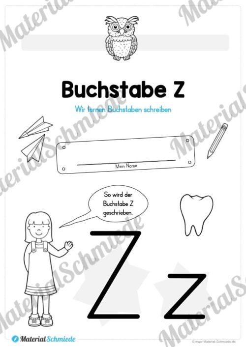Materialpaket: Buchstabe Z/z schreiben lernen (Vorschau 01)