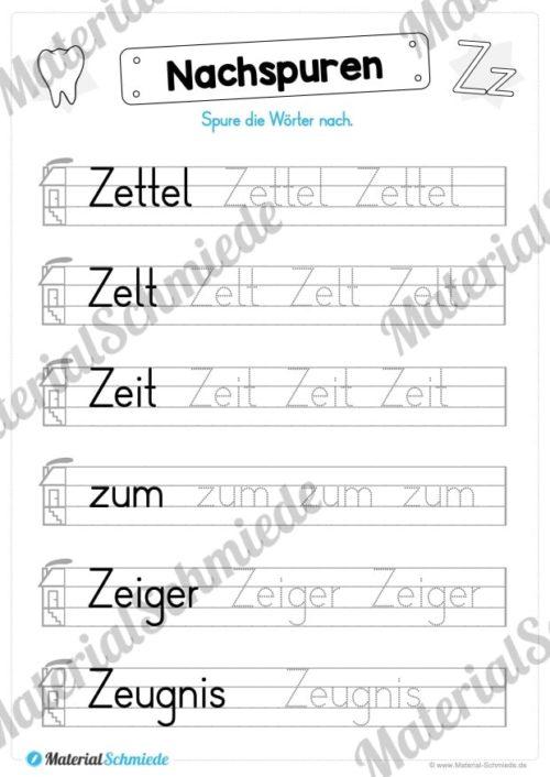 Materialpaket: Buchstabe Z/z schreiben lernen (Vorschau 05)