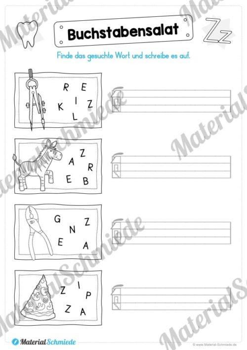Materialpaket: Buchstabe Z/z schreiben lernen (Vorschau 06)