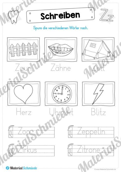 Materialpaket: Buchstabe Z/z schreiben lernen (Vorschau 07)