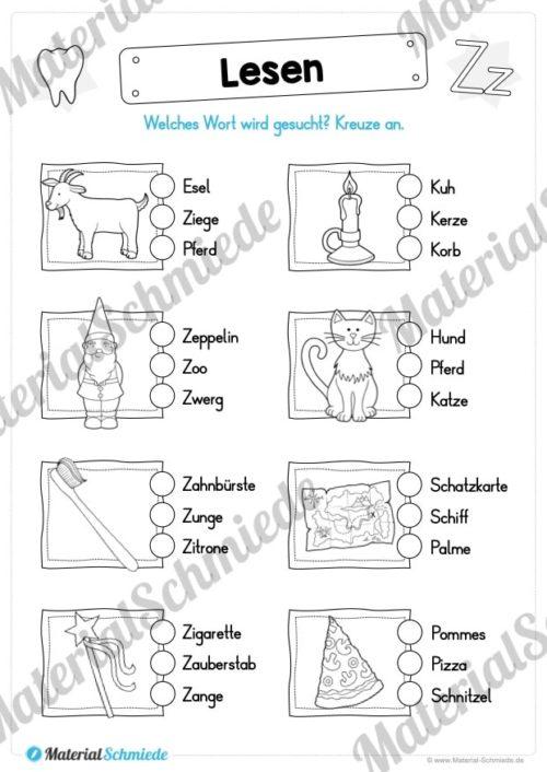 Materialpaket: Buchstabe Z/z schreiben lernen (Vorschau 08)