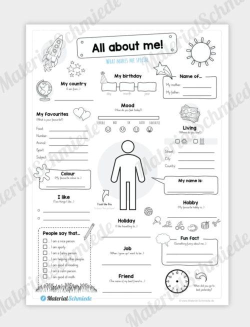 Steckbrief Englisch: All about me / That´s me (für Jungs)