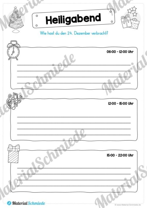 20 Arbeitsblätter zu den Weihnachtsferien (Vorschau 01)