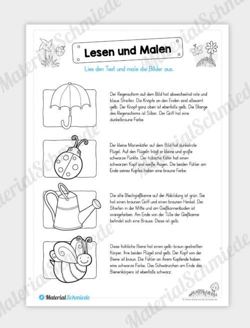 MaterialPaket: Lesen und Malen im Frühling (15 Seiten) - Vorschau 04