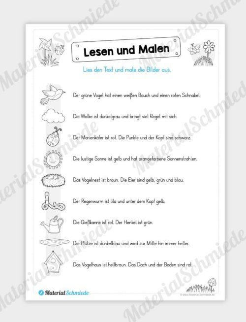 MaterialPaket: Lesen und Malen im Frühling (15 Seiten) - Vorschau 01