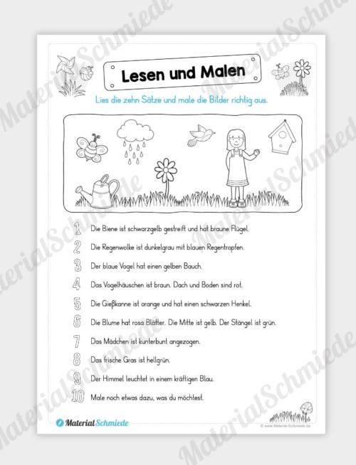 MaterialPaket: Lesen und Malen im Frühling (15 Seiten) - Vorschau 08