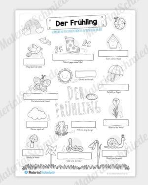 Arbeitsblatt: Wörter zum Frühling notieren