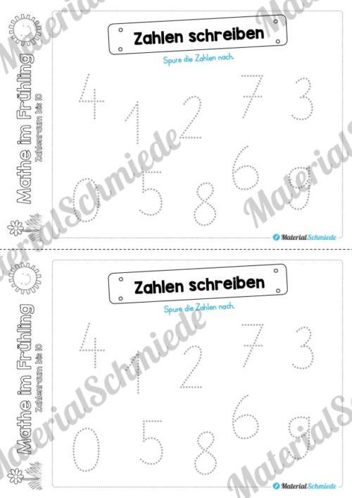 Mathe Übungen Frühling - Zahlenraum bis 10 (Zahlen nachspuren)