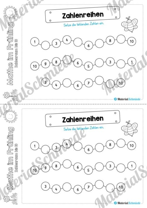 Mathe Übungen Frühling - Zahlenraum bis 10 (Zahlenreihen)