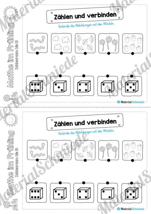 Mathe Übungen Frühling - Zahlenraum bis 10 (Zählen und verbinden)