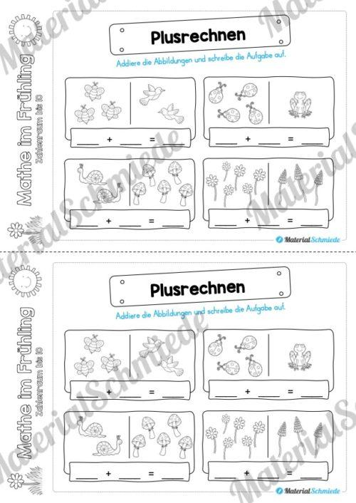 Mathe Übungen Frühling - Zahlenraum bis 10 (Plusrechnen)