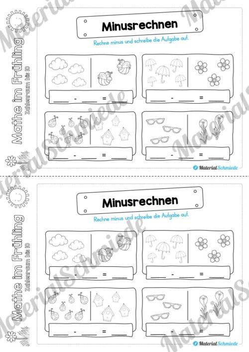 Mathe Übungen Frühling - Zahlenraum bis 10 (Minusrechnen)