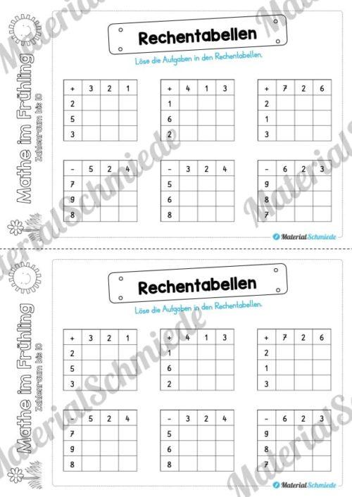 Mathe Übungen Frühling - Zahlenraum bis 10 (Rechentabellen)