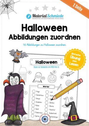 16 Abbildungen zu Halloween zuordnen