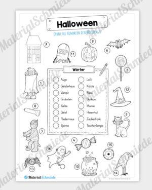 16 Begriffe zu Halloween zuordnen