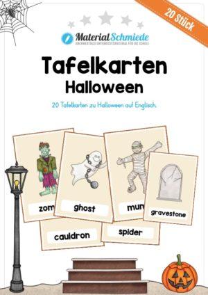 20 Tafelkarten zu Halloween (auf Englisch)