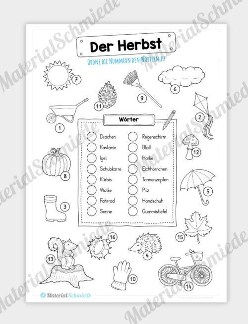 16 Begriffe zum Herbst zuordnen