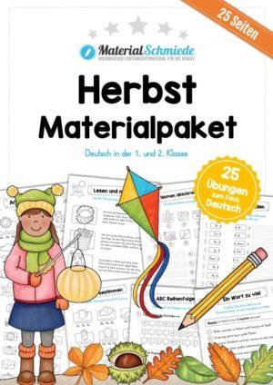 MaterialPaket Herbst: Deutsch 1. und 2. Klasse (25 Arbeitsblätter)