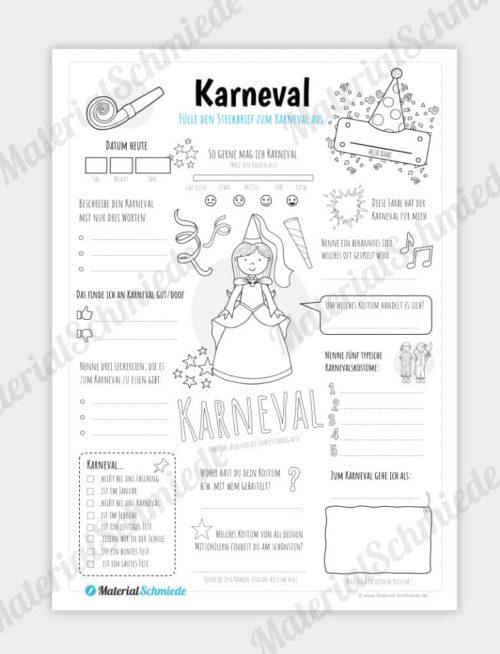 Steckbrief: Karneval (für Mädchen)