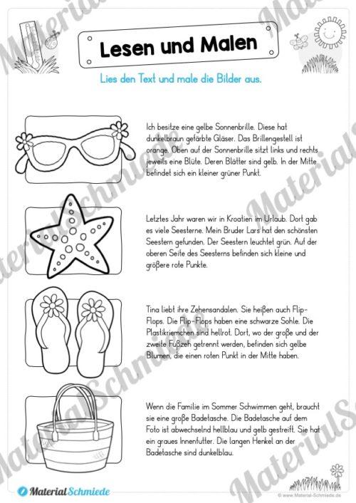 15 Arbeitsblätter: Lesen und Malen - Thema Sommer (Vorschau 01)