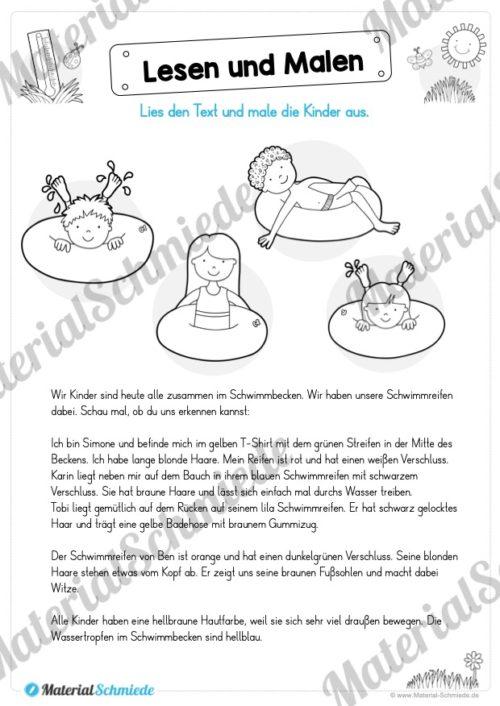 15 Arbeitsblätter: Lesen und Malen - Thema Sommer (Vorschau 03)