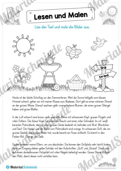 15 Arbeitsblätter: Lesen und Malen - Thema Sommer (Vorschau 04)